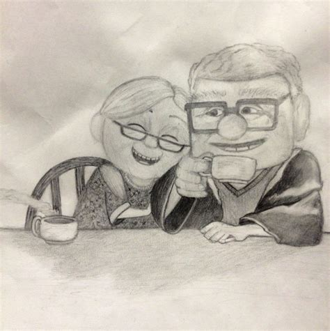 film up opa carl and ellie from the movie up drawings pinterest