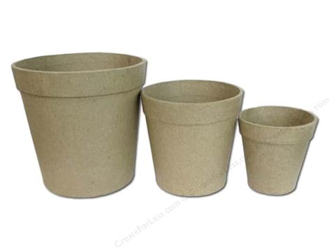 Paper Craft Flower Pot - paper mache flower pot set 3 pc by craft pedlers