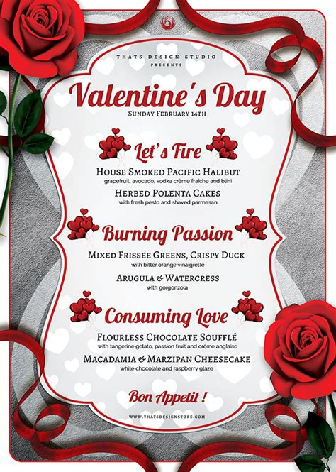 valentines menu template 2 flyers psd s day flyer menu v 8