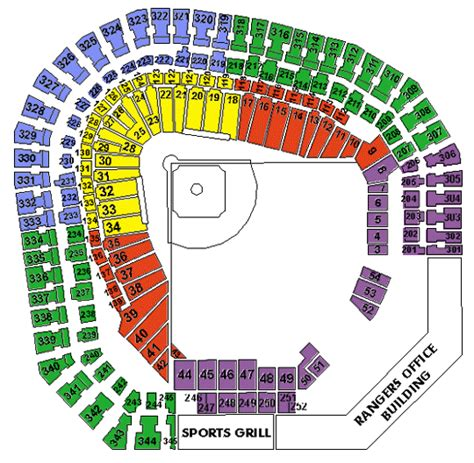 texas rangers parking map rangers stadium seating map my