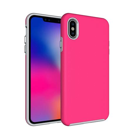 anti slip armor protective back cover shell for iphone xs max magenta alexnld