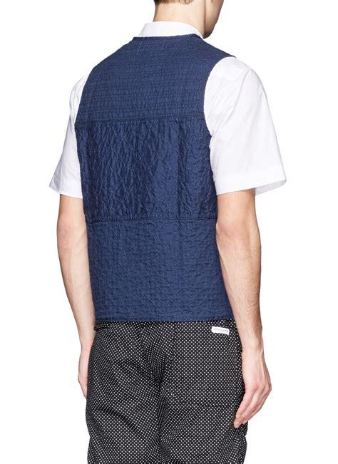 pattern linen jacket lyst ymc sashiko stitch pattern linen waistcoat in blue