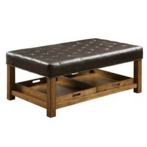 Ottoman With Removable Tray Coaster 174 Rectangle Vinyl Ottoman With Tufted Seating And Removable Serving Trays Black Quill