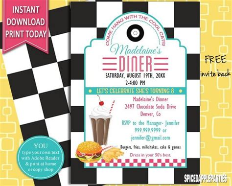 50s Retro Diner Invite 50s Party Invitation Burger Party 50s Diner Menu Templates Free