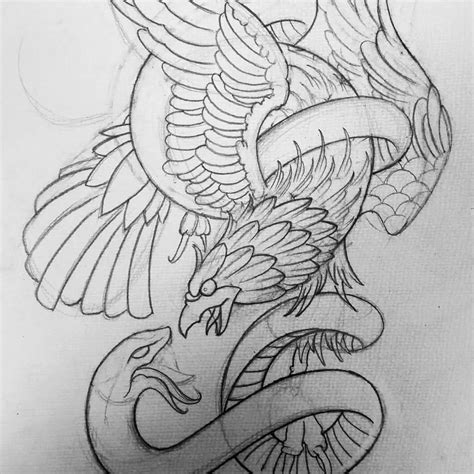 mexican eagle and snake tattoo design black outline eagle and snake stencil drawing