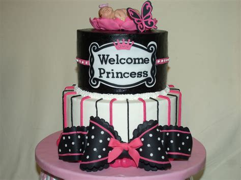 Black And Pink Baby Shower Cakes by Pink Black And White Baby Shower Cake Cakecentral