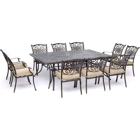 11 patio dining set hanover traditions 11 aluminum outdoor dining set