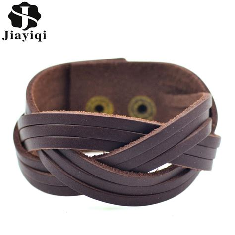 Gelang Vintage Leather Bracelet Bangle Promo jiayiqi vintage brown braided genuine leather bracelet fashion wide cuff bracelets