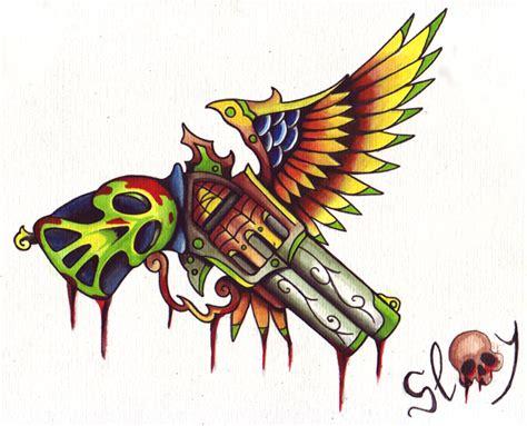 new school tattoo gun old gun slay by arslay on deviantart