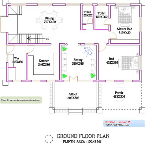 ground floor plan for 1000 sq feet kerala home plan and elevation 1300 sq feet