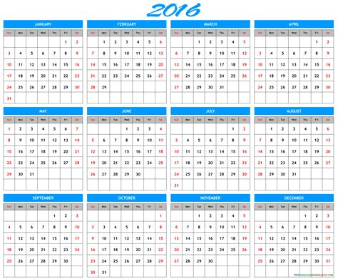 Calendar Templates 2016 2016 Yearly Calendar Template In Landscape Format