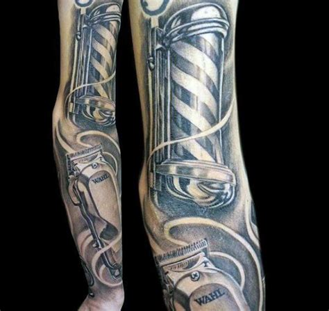barber clipper tattoo designs sleeve mens clipper and pole barber tattoos x