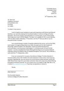 Covering Letter For Work Experience by Work Experience Letter Of Application Pdfsr
