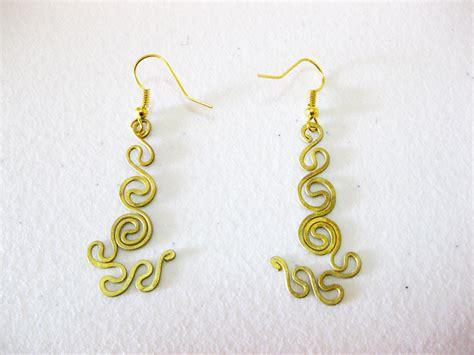 Handmade Jewelry Thailand - brass dangle earrings swirl whorl designs handmade jewelry