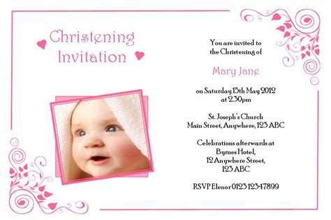personalised girl photo christening invitations design 3