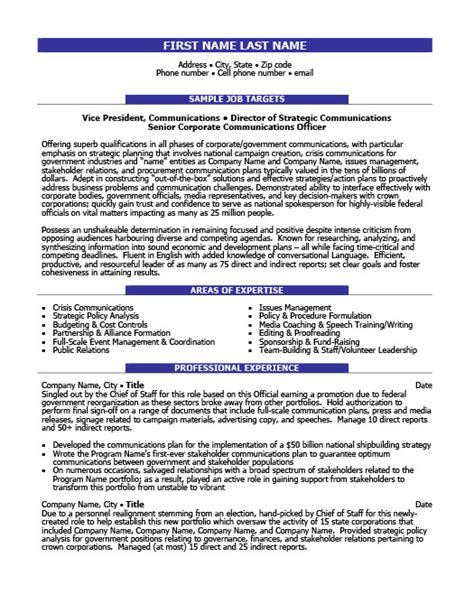 Resume Sle For Corporate Communication Manager Communications Resume Template Gfyork