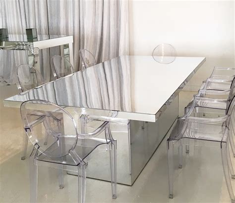 mirrored dining room table mirrored dining table acento