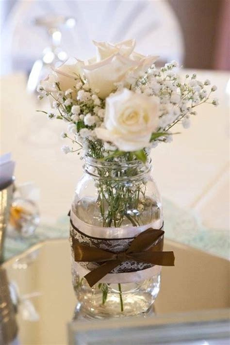 rustic country mason jar centerpiece by