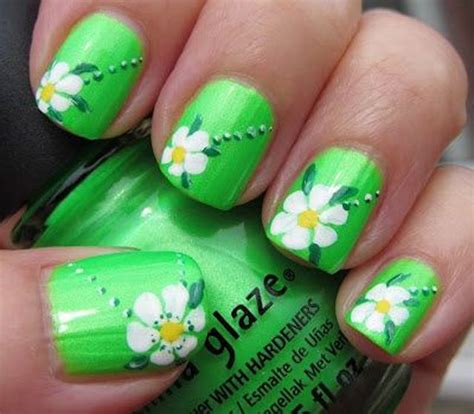 easy nail art green easy flower nail art for spring green nail designs