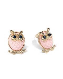 earing stud owl stud earrings rhinestone owl earrings gold plated