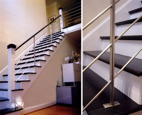 contemporary stair banisters black and white color themes modern style interior stair