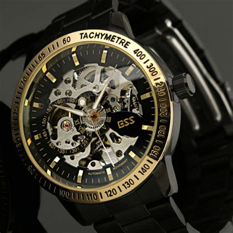 Jam Tangan Skeleton Kualitas Top ess skeleton stainless steel automatic mechanical wm399 black gold jakartanotebook
