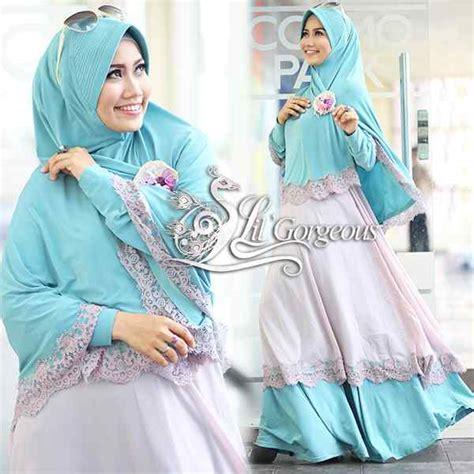 Gamis Pesta Hijau Tosca renda hijau tosca baby pink baju muslim gamis modern