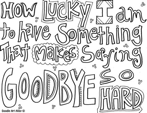 Printable Coloring Pages Goodbye Quote Sketch Page sketch template