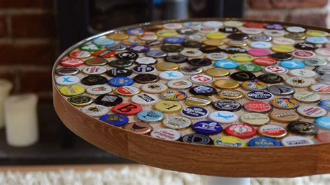 how to make a bottle cap table how to make a table using beer bottle caps simplemost