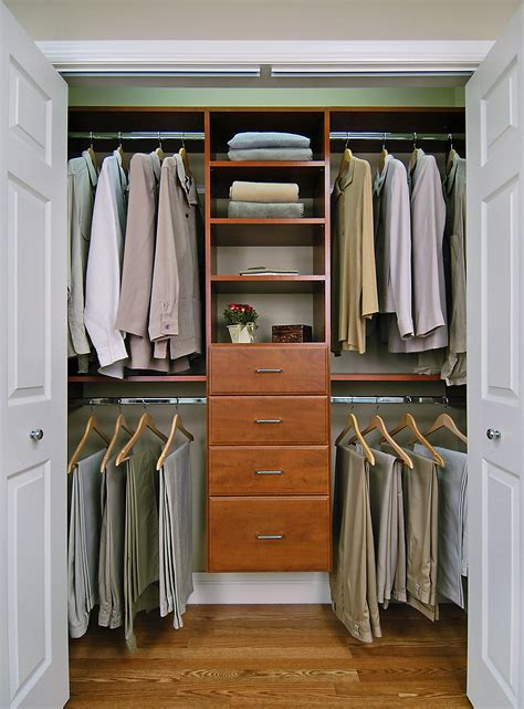 Closet Ideas Cherry Reach In Closet Features Include Double Hanging And Standard