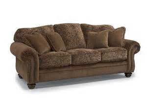 flexsteel 8649 31 two tone fabric sofa with nailhead trim