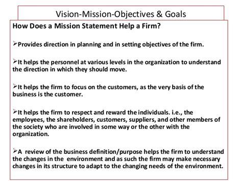 mission statement goals and objectives vision mission objectives goals