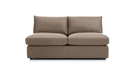 armless leather loveseat lounge ii petite leather armless loveseat lavista smoke