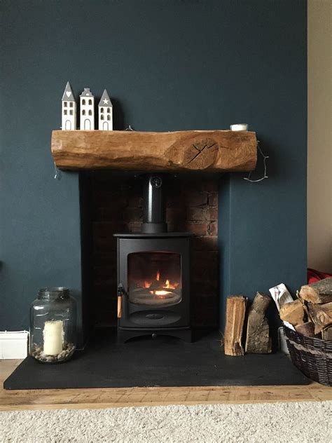Oak Beam Above Fireplace by Fireplace Finished Charnwood C Four Riven Slate Hearth