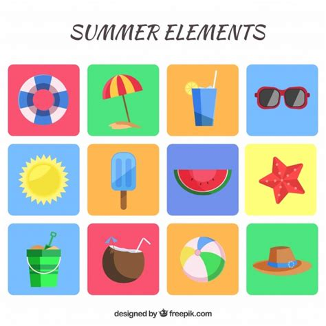 Elements Of My Vacation by Summer Vacation Elements Stock Images Page Everypixel