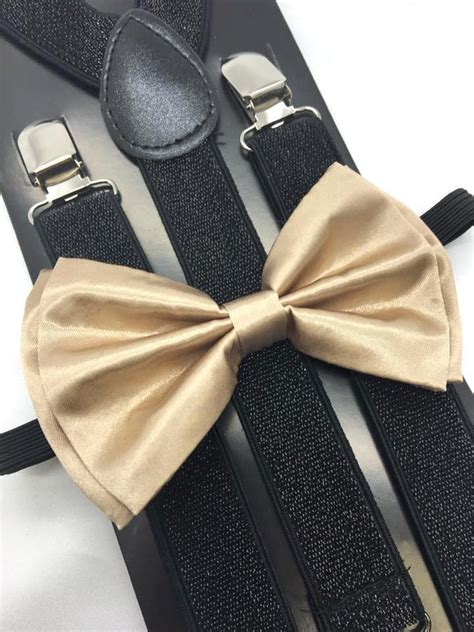 chagne gold bow tie and suspender matching set tuxedo