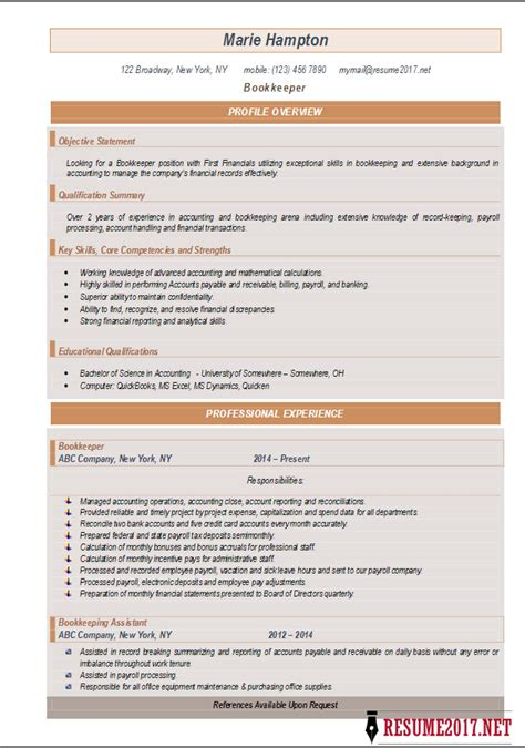 resume template word docx bookkeeper resume 2017