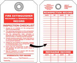 Extinguisher Inspection Tag Template by Extinguisher Recharge And Re Inspection Tag With