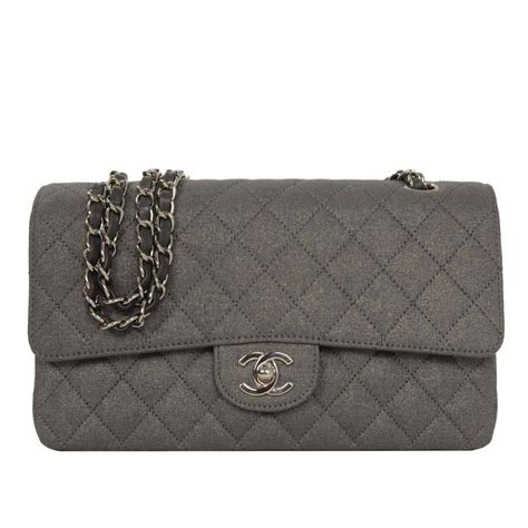chanel metallic grey quilted fabric 10 quot medium classic