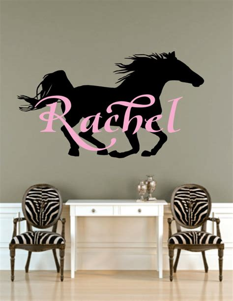 wall decals for teenage girls bedroom horse horse art name decal name with horse decal by signjunkies