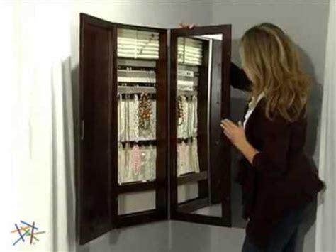 Tri fold Photo Frame & Mirror Wall Mount Jewelry Armoire ... Jewelry Armoire With Mirror