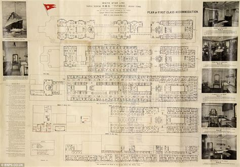 titanic floor plans rare titanic deck plan that belonged to doomed first class