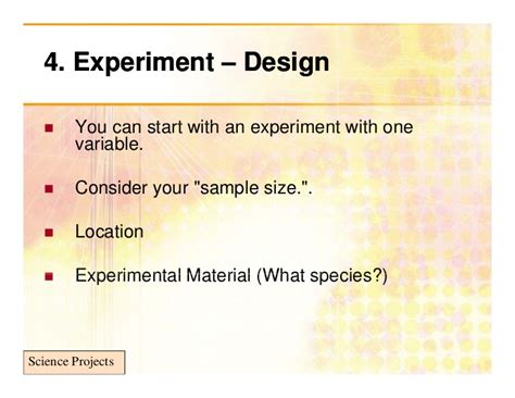 experimental design problems school science projects based on experiments