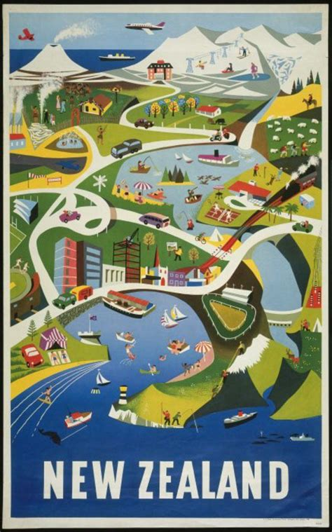 poster design nz map of new zealand ephemera ads pinterest