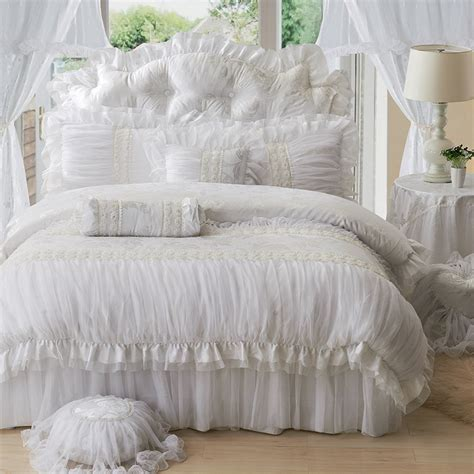 lace coverlet bedding luxury lace ruffle bedding set twin queen king cotton