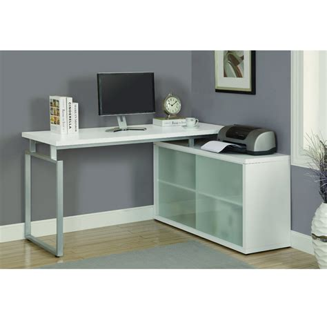 Modern Corner Office Desk Langston Corner Desk In White Modern Office Desks Vancouver