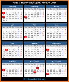 Calendar 2018 With Federal Holidays Federal Reserve Bank Us Holidays 2017 Holidays Tracker