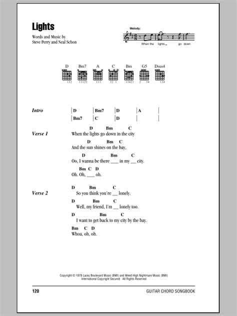 Lights Chords by Lights By Journey Guitar Chords Lyrics Guitar Instructor