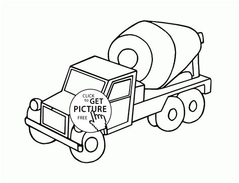 coloring concrete small cement truck coloring page for transportation