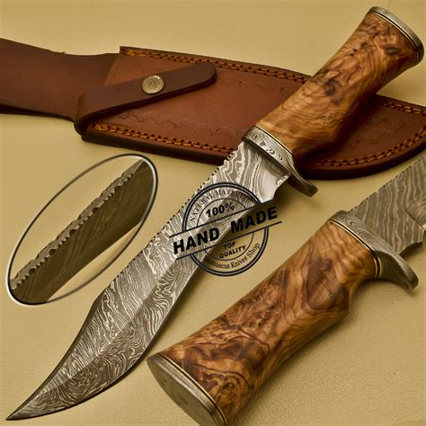 elk handle bowie knife damascus bowie knife custom handmade damascus steel
